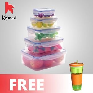 Keimavlock 10-Pc Airtight Food Storage with Snackeez 2 in 1 Cup (Green)