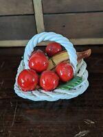 CERAMIC BASKET w/FRUIT (6 Cherries,1 Banana) LANZARIN CERAMICHE Hand Made, ITALY