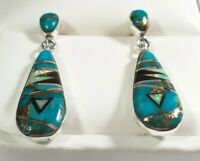"""925 STERLING SILVER SMALL MATRIX TURQUOISE & OPAL 1 3/16"""" x 5/16"""" POST EARRINGS"""