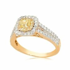 Solitaire with Accents Yellow Fine Rings