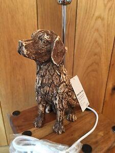 Flynn The Dog Animal Desk Table Bedside Lamp Light Drift Wood Effect Resin NEW