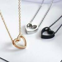 Chic Stainless Steel Heart-shaped Chain Pendant Necklace Women Girls Jewelry