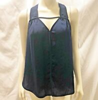 Rebecca Taylor Blouse 6 Small S Navy Blue Top Sleeveless Shirt V Neck