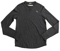Abercrombie & Fitch Men's V Neck Grey Medium 100% Cotton