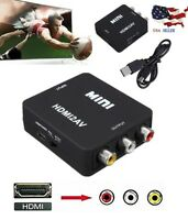 1080P Full HD HDMI to Output AV RCA Audio Video CVBS Converter Adapter TV Black