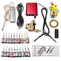 Beginner Tattoo Kit 1 Machine Gun 20 Ink Power Supply Needle Tip Complete Set
