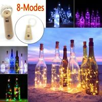 2M 20 LED Wine Bottle Fairy String Light Cork Starry Night Party Wedding 8-Modes