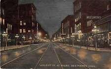 Des Moines Iowa night scene Walnut St business area antique pc Z22905