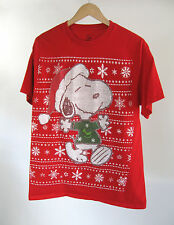 Peanuts Snoopy Christmas Red T-Shirt Cute Ugly Sweater Graphic Tee Size L Large