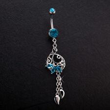 Aquamarine Mermaid Belly Ring Hollow Flower Navel Dangle Tassel Piercing Jewelry