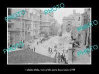 OLD LARGE HISTORIC PHOTO VALLETTA MALTA WWII BOMBING OF OPERA HOUSE 1942