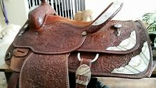 Silver Royal / Circle Y Fully Tooled Western Equitation Show Saddle 16""