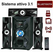 IMPIANTO HOME THEATRE 3.1 CINEMA STEREO CASA BLUETOOTH USB TELECOMANDO