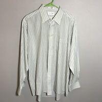 Mens Sears Roebuck Vintage Long Sleeve Striped Shirt Gray Tan 17 1/2 34/35 XL