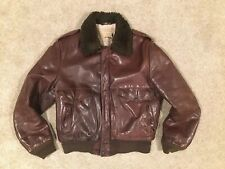 VTG Schott Flight Jacket I-S-674-M-S Brown Leather Bomber Sherpa Lined 42 USA