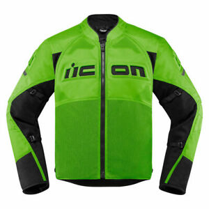 Jacke Motorrad ICON Contra 2 Atmungsaktiv Schutz D30 Grün