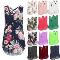 Women Chiffon Sleeveless Vest Shirt Blouse Ladies Casual Beach Tops Plus Size UK