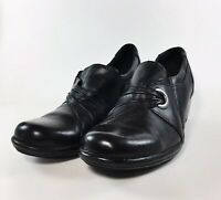 CLARKS BENDABLES 7.5 M Black Leather Womens Loafers Clogs Shoes Slip-On Booties
