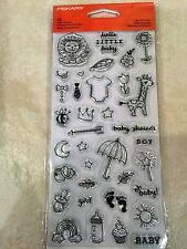 Clear Acrylic Stamp Set by Fiskars Stamps Little Moments - Baby Boy, Girl NEW
