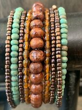 TURQUOISE & BROWN WOOD & SEED BEAD MEMORY STRETCH BRACELET JEWELRY
