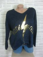 38 40 42 feinstrick Pullover Pulli Tunika Shirt Oversize lurex Blau E869 NEU