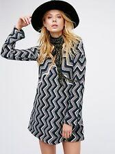 f3a625207f People SzM Rhiannon Chevron Long Sleeve Knit Dress Black Combo