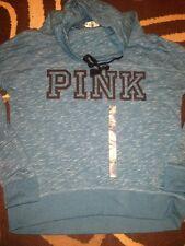 Victorias Secret Pink Love Pink Marled Cowl Neck Pullover Hoodie Swestshirt Teal