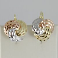 18K YELLOW ROSE WHITE GOLD EARRINGS THREE ALTERNATE WORKED WAVES MADE IN ITALY
