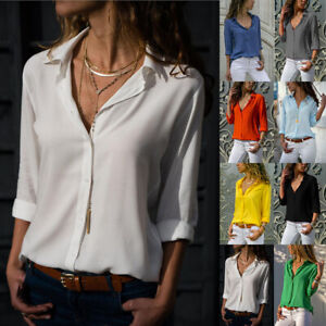 Womens Long Sleeve Button Up Shirt Tops Ladies Plain Casual Loose OL Work Blouse