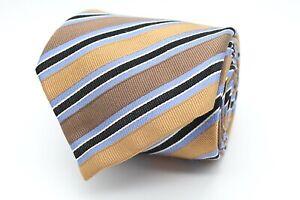 Tom Harrison Herren Krawatte 150cm 100% Seide Braun Gold Gestreift #421