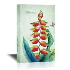 """Wall26 - Retro Style Tropical Red Plant Heliconia Gallery - CVS - 32"""" x 48"""""""