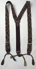 Ferrell Reed Silk Leather Suspenders Teal Blue Green Burgundy Maroon Paisley