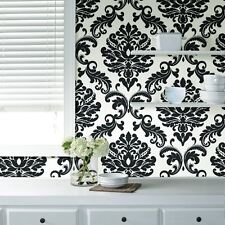 Wallpops Ariel Damask Black White Contemporary Peel and Stick NU Wallpaper Diy