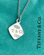 Tiffany & Co 1837 Sterling Silver Square Charm Pendant Necklace