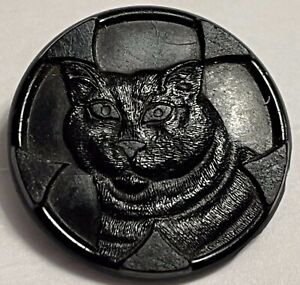 Antique Button Cat Face Fascinating - Black Glass OVER 1 inch