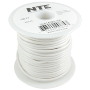 NTE Electronics  WA16-09-100 HOOK UP WIRE AUTO 16 GAUGE WHITE STRANDED 100'