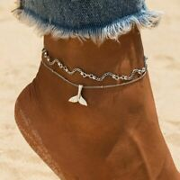 Mermaid Ankle Chain Bracelet Silver Cute For Womens Bohemian Multiple Leg Anklet