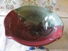 FOLLETTE POTTERY Cereal / Soup/ Batter BOWL Burgundy Green Abstract Floral EUC