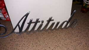 """RARE VINTAGE CHROME ATTITUDE LETTER WALL HANGING DECORATIVE SIGN 21"""" LONG"""