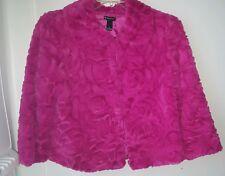New Directions women's  Pink Textured fur Short Swing Jacket Size Medium fun