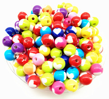 100Pcs 8mm Mixed Color Acrylic Round Heart Spacer Loose Beads Free Ship