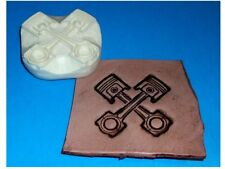 """Crossed Pistons Leather Embossing Plate 2 1/4"""" x 2 1/4"""""""