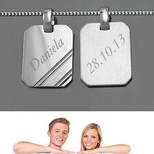 1 Partner Gravur Anhänger für Männer mit Name Datum und Kette Echt Silber 925