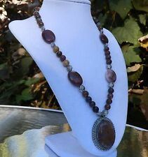 """19"""" Mookaite Necklace with Vintage Mookaite Pendant - pink, tan, purple, brown"""