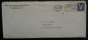 1945 United States Esso Radio Officers Cover & Letter ties 3c stamp New York
