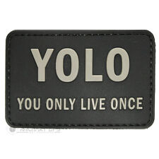 VINYL MORALE PATCH VELCRO PANEL RUBBER YOU ONLY LIVE ONCE YOLO BLACK