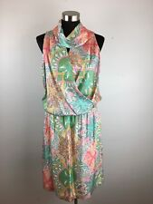 Worth Womens Dress 10 M Multicolor Floral Paisley Knee Length Silk Made in USA