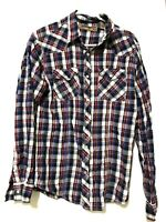Red Snap Mens Long Sleeve Flannel Plaid Pearl Snap Dress Shirt Blue Red Size M