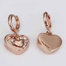 Kristallbolzen-Eardrop-Schmucksachen 18k Rose Gold überzogener Herz-Ohrring