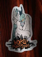 WORLD INDUSTRIES VINTAGE THE STRAIGHT JACKET MONSTER LOGO SKATEBOARD STICKER